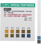 Precisie PH-teststrips Korte reeks 0.5-5.0 Indicator Papiertester 100 Strips Boxed w / Colour Chart