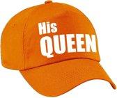 His Queen pet / cap oranje met witte letters voor dames - Koningsdag - verkleedpet / feestpet