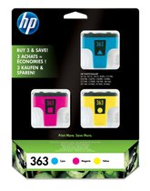 363 inktcartridge drie kleuren standard capacity c:4ml, m:3.5ml, g:6ml c:400p, m:370p, g:500p 3-pack Blister multi tag vivera in