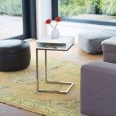 relaxdays - bijzettafel met extra vak - hout   metaal -  stoeltafel extra ruimte wit