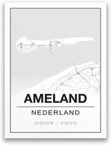Poster/plattegrond AMELAND - 30x40cm
