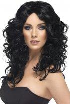 Glamour pruik met zwarte krullen