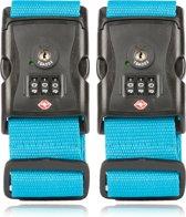 TravelSky Kofferriem met TSA Cijfer Slot - Bagage Riem - Luggage Strap - Kofferband - Gesp - 180 cm - 2 stuks - Blauw