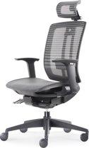 """BenS 816DH-Synchro-4 Lux topmodel bureaustoel met """"zwevende"""" zitting en hoofdsteun Zwart"""