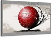 Canvas schilderij Art | Rood, Zwart, Grijs | 140x90cm 1Luik
