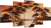 Schilderij handgeschilderd Boom | Bruin , Oranje | 150x70cm 5Luik