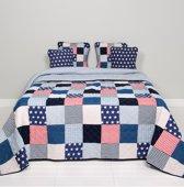 Clayre & Eef Bedsprei Blauw Sterren - Stars en Stripes - 2 persoons (230x260)