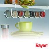 Rayen 6072 Kruidenrek voor 6 potjes - 38 x9 x 10,5 cm - makkelijk over een plank te schuiven