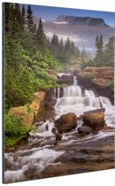 Lunch Creek watervallen Amerika Aluminium 80x120 cm - Foto print op Aluminium (metaal wanddecoratie)