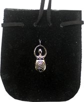SUEDE POUCH ROUNDED WITH STRAP zwart METAL GODDESS 3.25 x 2