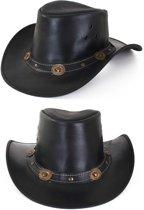 2x Cowboy hoed leder zwart