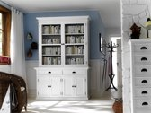 Halifax dressoir met 2 glazen deuren, 2 lades en 4 deuren, in wit.