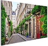 Bastille District in Parijs Aluminium 90x60 cm - Foto print op Aluminium (metaal wanddecoratie)