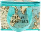 Lunchtasje / koeltas wereldkaart , vintage world map . Sass&belle