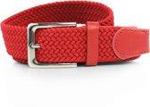 Rood - Elastische Comfort Riem - Totale lengte 110 cm - Gevlochten - 100% Elastisch - Nikkelvrije Gesp - Safekeepers