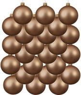 24x Donker parel/champagne glazen kerstballen 6 cm - Mat/matte - Kerstboomversiering zwart