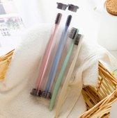 Hippe Tandenborstel Voor Op Reis - Bamboo - Aflsuitbaar - Hygienisch - Portable - Charcoal Borstel - Roze