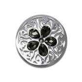 LOCKits 982501871 - stalen munt - fantasie - zwarte kristallen - Ø 33-2 mm - zilverkleurig