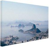 Bergen rondom Rio de Janeiro Canvas 60x40 cm - Foto print op Canvas schilderij (Wanddecoratie)