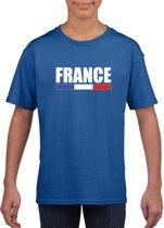 Blauw Frankrijk supporter t-shirt voor heren - Franse vlag shirts M (134-140)
