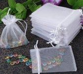 Organza Zakjes AA Commerce - Wit 50 Stuks 10 x 15 CM - Cadeauzakjes / Kado Zakjes / Cadeautasje / Van Organza Stof - Feestartikel