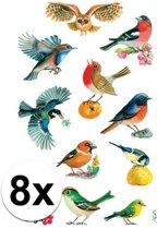 8x Vogel stickers 3 vellen - dieren stickers
