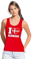 Rood I love Denemarken supporter singlet shirt/ tanktop dames - Deens shirt dames XL