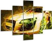 Glasschilderij Audi | Bruin, Groen | 100x70cm 5Luik | Foto print op Glas |  F004584