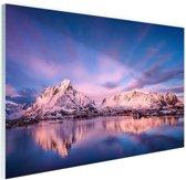 FotoCadeau.nl - Bergen bij meer Glas 120x80 cm - Foto print op Glas (Plexiglas wanddecoratie)