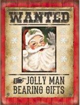 Kerst Grote muurplaat Wanted Kerstman 30x40cm