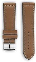Bruine sport horlogeband  in Frans leder met wit stiksel (made in France) 22 mm