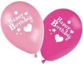 Happy birthday girl 8 stuks roze