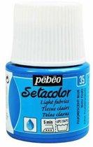 Pébéo Setacolor Fluoriserend Blauwe Textielverf - 45ml textielverf voor lichte stoffen