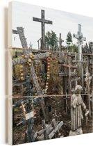 Katholieke kruizen op Kruisheuvel noord Litouwen Vurenhout met planken 20x30 cm - klein - Foto print op Hout (Wanddecoratie)