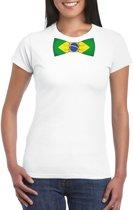 Wit t-shirt met Brazilie vlag strikje dames 2XL