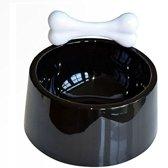 Hondenvoer voor huisdieren en Water Bowl zwart plastic met wit bot