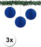 3x decoratie bal blauw 10 cm - papieren kerstbal