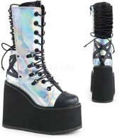 EU 39 = US 9   SWING-120   5 1/2 PF Lace-up Mid Calf Boot, Side Zip