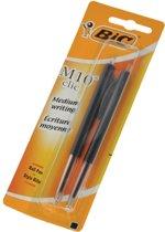 Balpen Bic M10 Clic Zwart Medium Blister Per 2 stuks