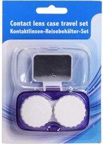 Lenzen bewaardoosje met spiegel en paars beschermhouder - contactlenzen bakje / lenzenbakje