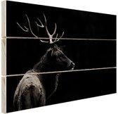 Hert zwart-wit  Hout 60x40 cm - Foto print op Hout (Wanddecoratie)