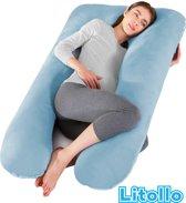 Zwangerschapskussen XXL – Voedingskussen – 280cm – Met zachte coral fleece stof – Inclusief handige opbergtas - Blauw