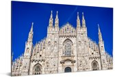 Donkerblauwe lucht boven de Kathedraal van Milaan Aluminium 90x60 cm - Foto print op Aluminium (metaal wanddecoratie)