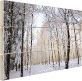 Besneeuwd bospad Hout 160x120 cm - Foto print op Hout (Wanddecoratie) XXL / Groot formaat!