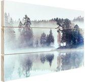 Mistig landschap  Hout 30x20 cm - klein - Foto print op Hout (Wanddecoratie)