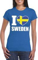 Blauw I love Zweden fan shirt dames XS