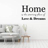 Muursticker Home, Love, Dreams -  Zilver -  120 x 70 cm  - Muursticker4Sale