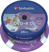 Verbatim 43667 DVD+R Double Layer Inkjet Printable 8x Schijven - 25 Stuks / Spindel