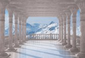 Fotobehang Mountain Scene Through The Arches   L - 152.5cm x 104cm   130g/m2 Vlies