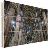 Het interieur van de binnenkant van de Kathedraal van Milaan Vurenhout met planken 90x60 cm - Foto print op Hout (Wanddecoratie)